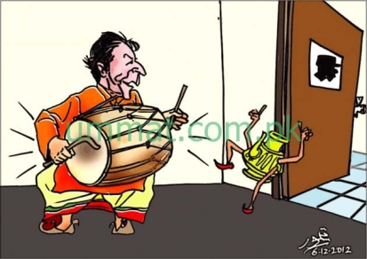 CARTOON_Imran Khan beats the drums of Election
