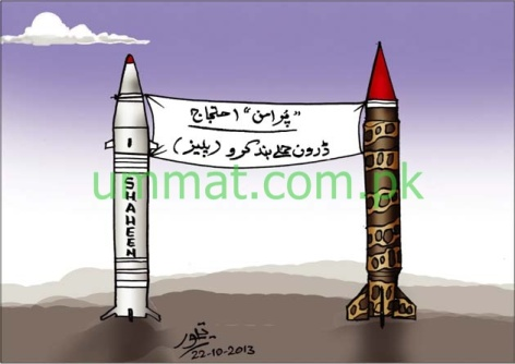 CARTOON_Peaceful Protest against Drone Terror